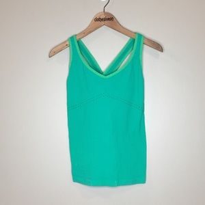 Alo Green V-Neck Cross Strap Tank Top - Small